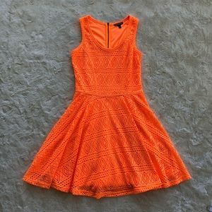 Express fluorescent orange skater dress size small